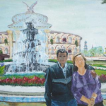 My parents at Jaime Duque park. Acrylic on paper.