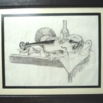 Still-life. Charcoal on paper.